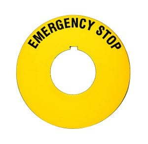 yellow circular emergency stop machine safety label