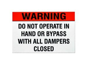 damper machine safety warning label