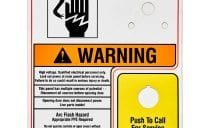 voltage warning label with yellow push to call sign