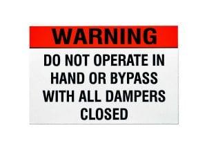 Damper Warning Safety Label