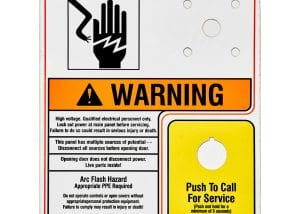 High Voltage Warning & Yellow Push to call machine safety label