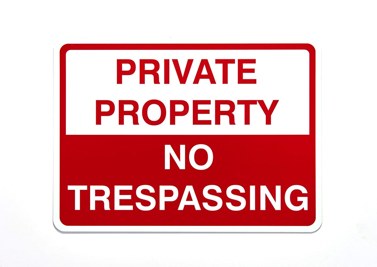 Private Property No Trespassing Safety Label